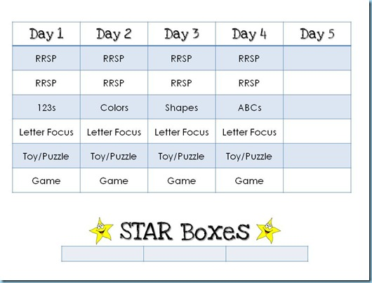 Preschool Workbox Planning Forma