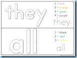 Color By Number Sight Words all they