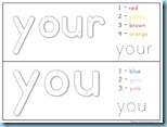 Color By Number Sight Words you your