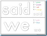 Color By Number Sight Words said we