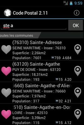Codes Postaux - screenshot