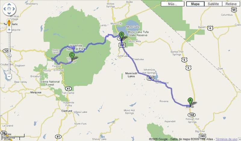 Ruta Bishop a Yosemite