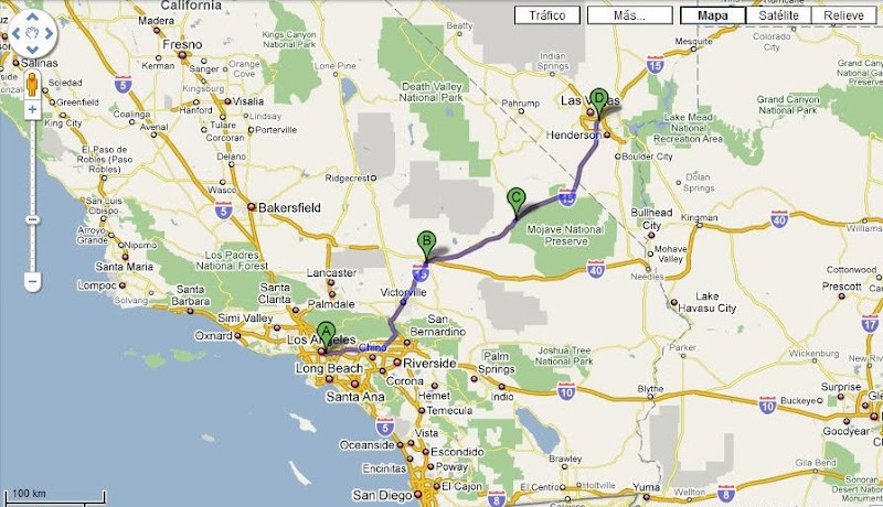 Ruta Los Angeles a Las Vegas