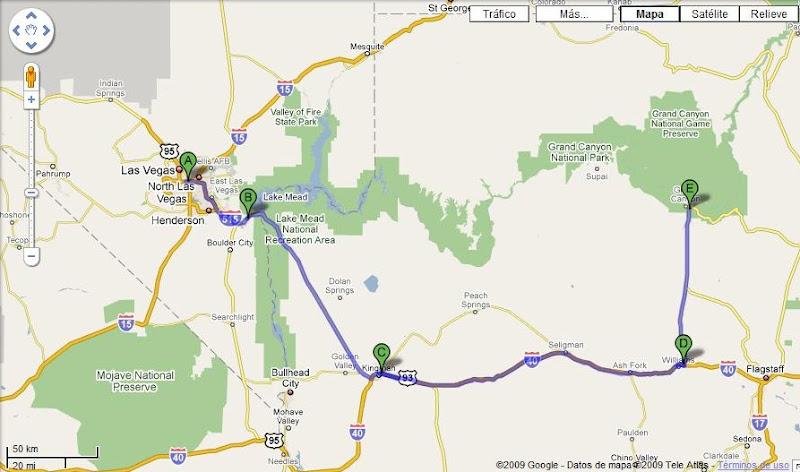 Ruta Las Vegas a Cañón del Colorado