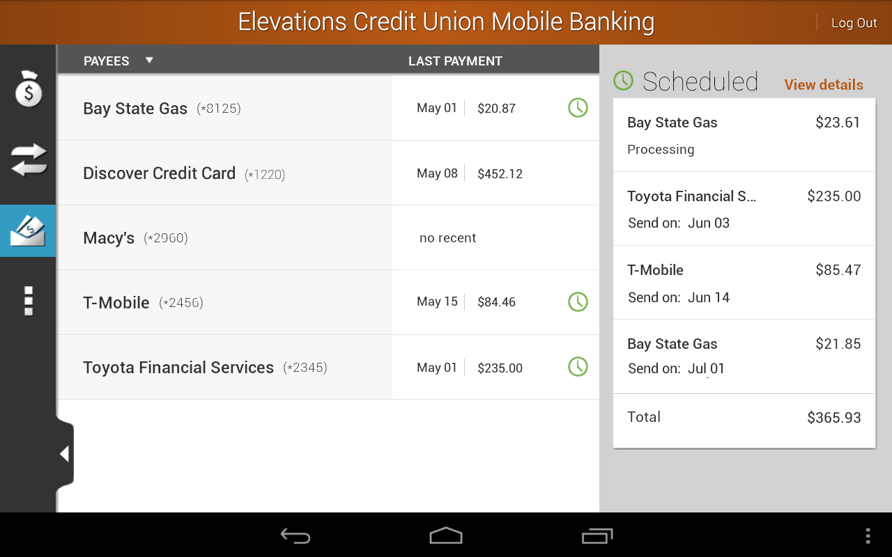 Elevations Credit Union Mobile - screenshot
