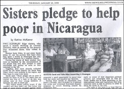 Sister pledge to help poor in Nicargua