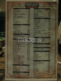 Whistlestop Menu