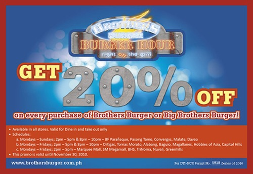 Brother's Burger Philippines Burger Hour Promo