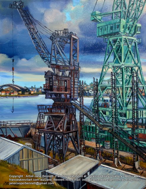 oil painting of cranes on Cockatoo Island  by artist Jane Bennett