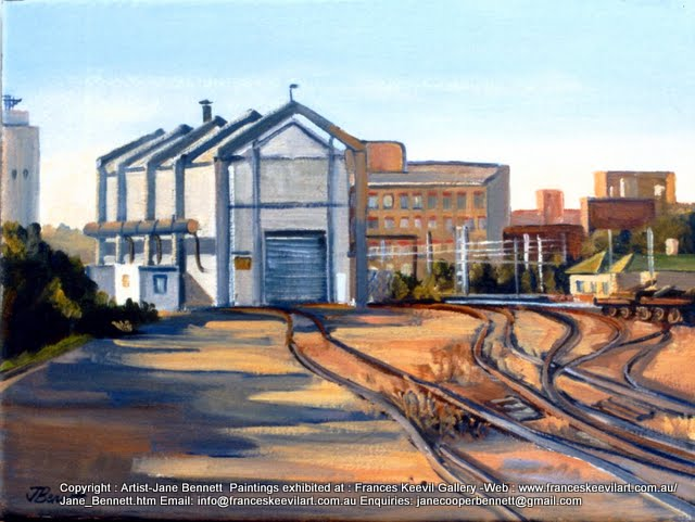 oil painting  of  railway and buildings at Carriageworks Eveleigh Railway Workshops by artist Jane Bennett