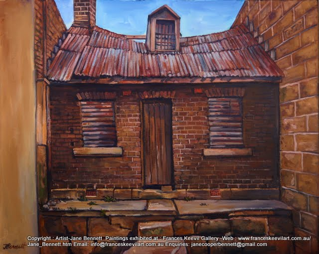 plein air oil painting of derelict workers cottage in Pyrmont  by industrial heritage artist Jane Bennett