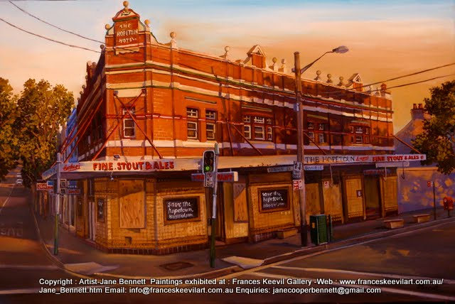 Urban decay -plein air oil painting of the Hopetoun Hotel, Surry Hills by artist Jane Bennett