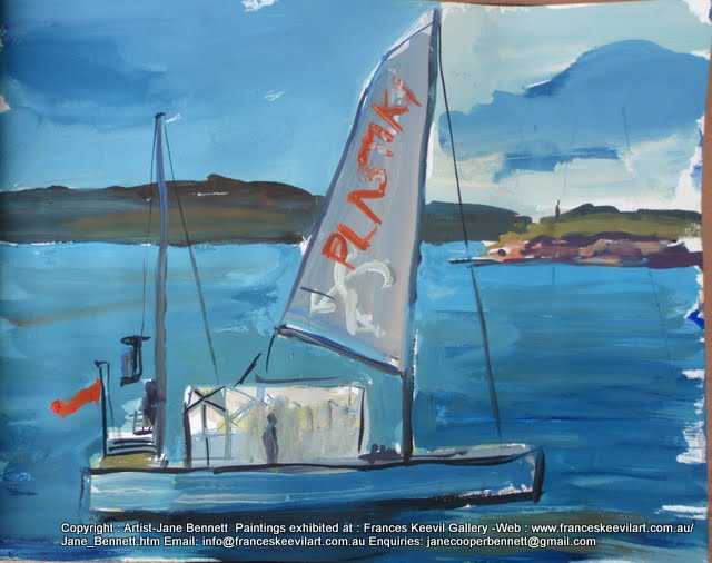 watercolour painting of the 'Plastiki' sailing on  Sydney Harbour by artist Jane Bennett
