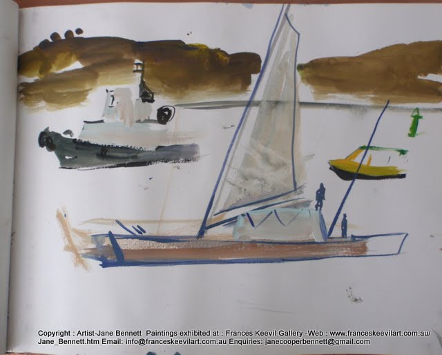 watercolour painting of tug with the 'Plastiki' sailing on  Sydney Harbour by artist Jane Bennett