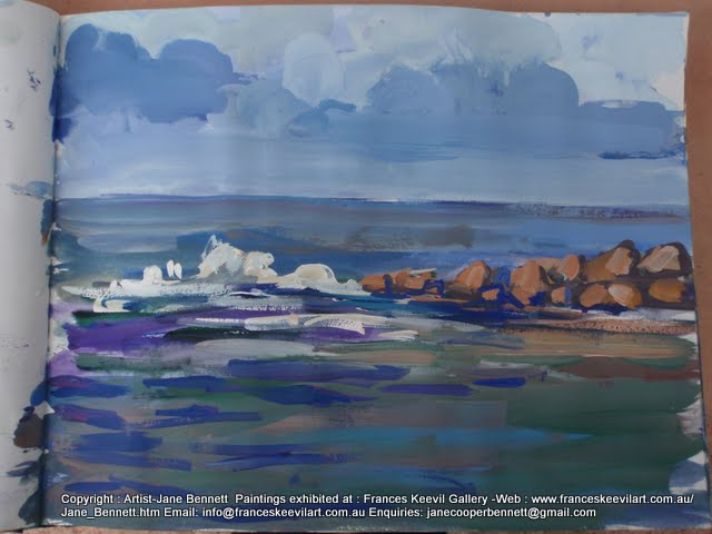 watercolour painting of South Head Sydney Harbour by artist Jane Bennett