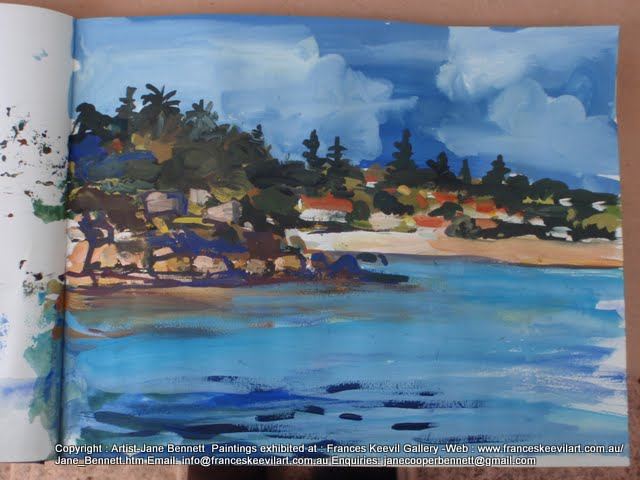 watercolour painting of Camp Cove Sydney Harbour by artist Jane Bennett