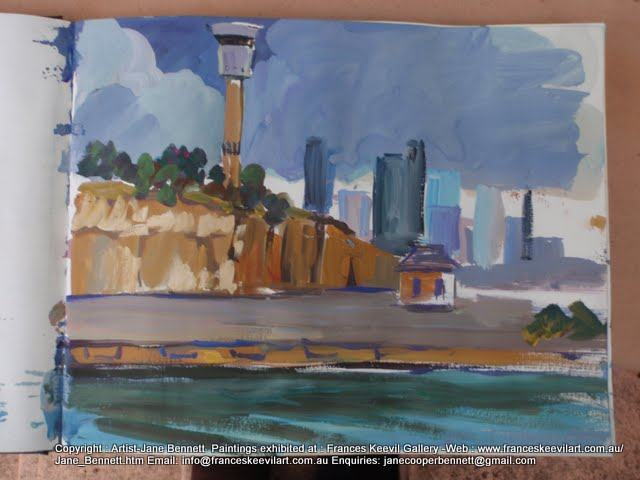 watercolour painting of the Sydney Harbour Control Tower, Barangaroo Sydney Harbour by artist Jane Bennett