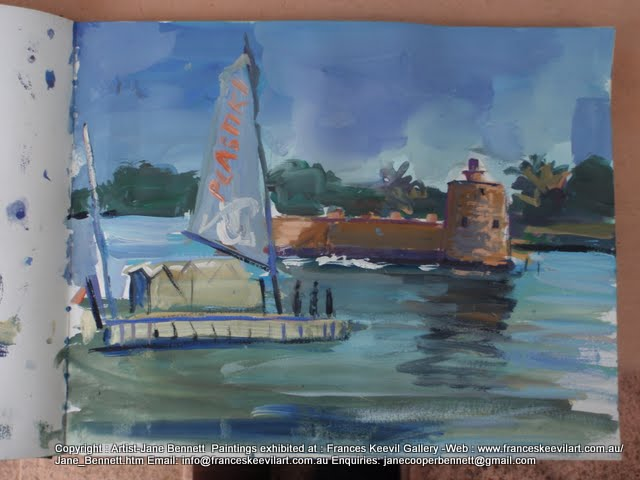 watercolour painting of the 'Plastiki' sailing past Fort Denison on  Sydney Harbour by artist Jane Bennett