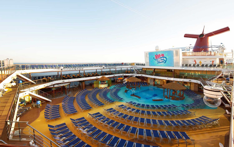 Relax at the pool and enjoy a Dive in movie when you sail with Carnival Breeze.