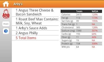 Screenshot of Fast Food Nutrition