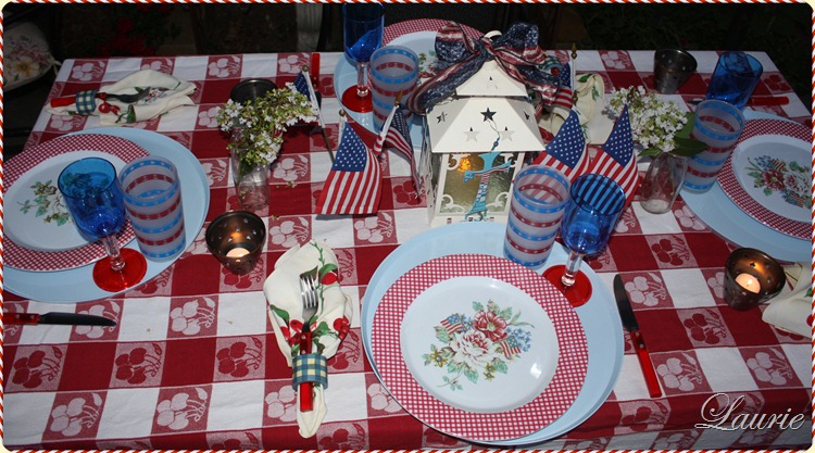 Patriotic table withbred white blue and cherries