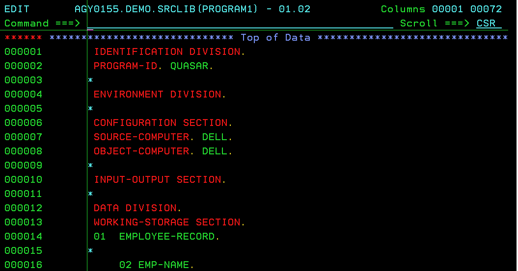 WORKING-STORAGE SECTION, Rough-work areas in COBOL - Mainframes 360