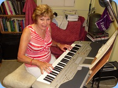 Carole Littlejohn delighted us with her wonderful musical abilities all day (and night). Here seen playing the Korg Pa1X