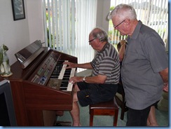 George Watt trying out Pam's Yamaha Electone organ