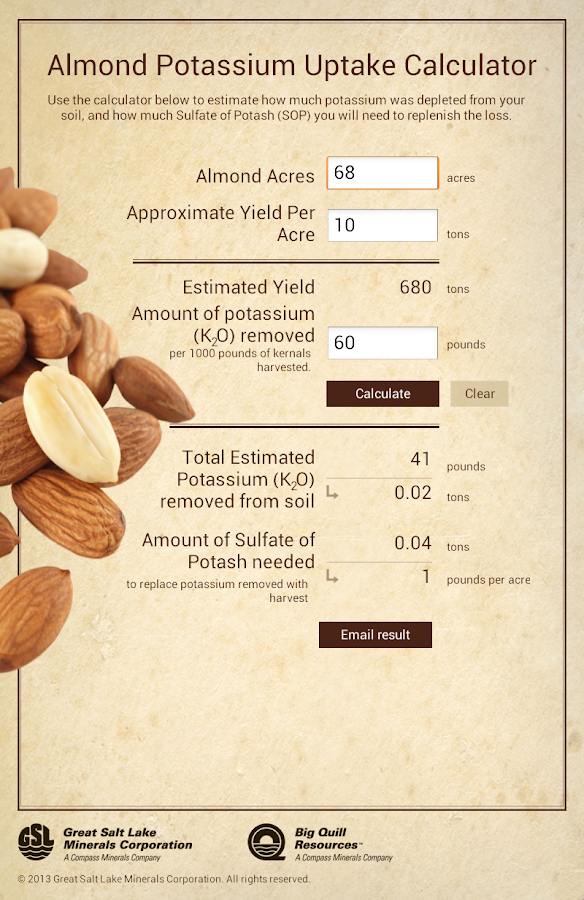 Almond Potassium Calculator- screenshot
