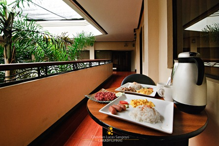 Breakfast Al Fresco at our Makeshift Veranda at Bacolod's Business Inn