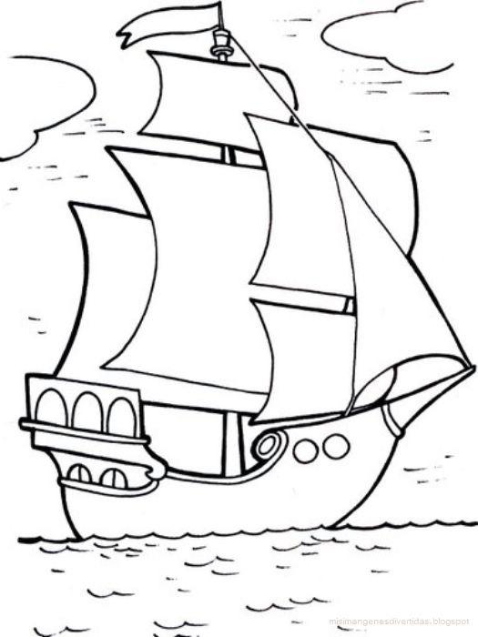 Dibujos Para Colorear Cristóbal Colón Y Las Carabelas Colorear