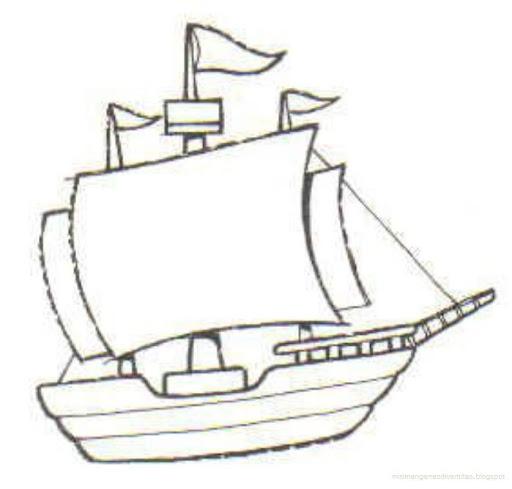 Barco Para Colorear De Cristobal Colon Las Tres Carabelas De