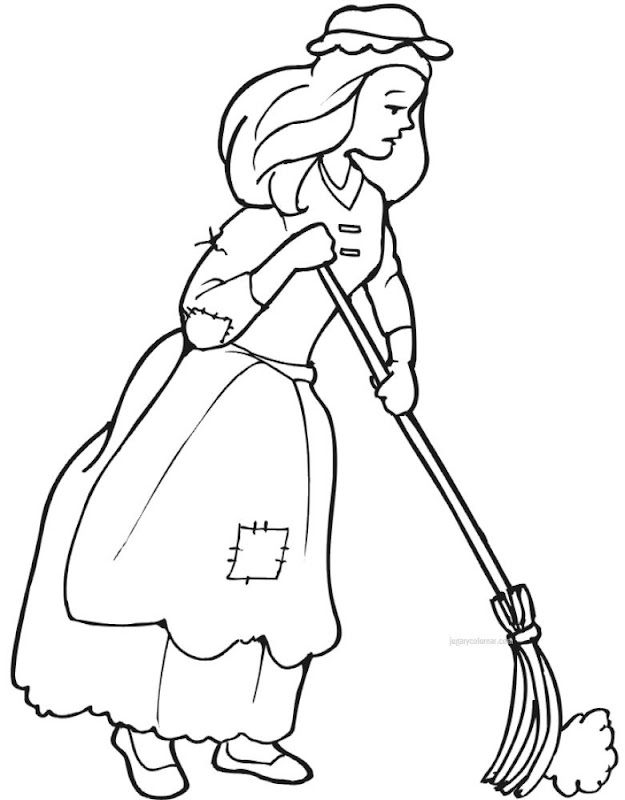 sweeping the floor coloring pages - photo#7