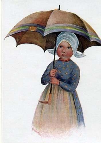 Dibujos en color de niñas con paraguas