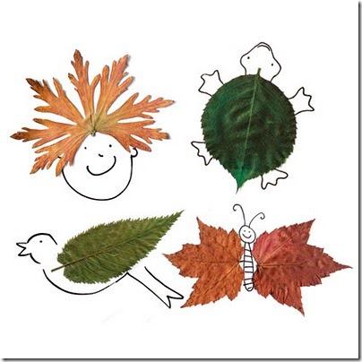 Actividad animales y figuras hechos con hojas secas - Colorear ...
