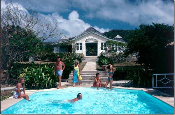 A Group Meal On Mustique Princess Margaret One Side Of The Table With Her Son Opposite Other