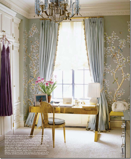 In A NY Dressing Room, Delicate Hand Painted Silk Wallcovering Is Paired  With Even Prettier Silk Curtains U2013 Trimmed From The Leading Edge Down To  The Hem.