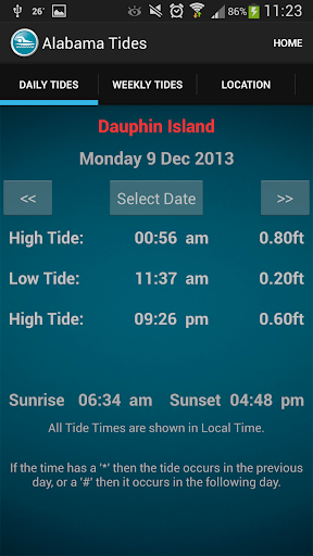 Alabama Tide Times