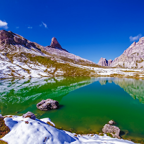 Upper Lake dei Piani by Roberto Melotti - Landscapes Mountains & Hills ( roberto melotti, mountain, green, tre cime natural park, lake, parco naturale tre cime, winter, dolomiti, alpi, snow, mere, dolomites, italy, pond, laghi dei piani, alps,  )
