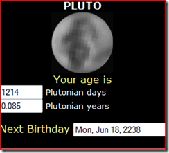 My age in Pluto