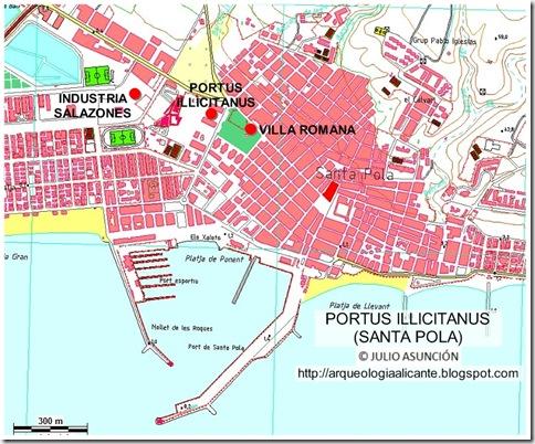 Mapa De Santa Pola.Rutas Arqueologicas Por Alicante Portus Illicitanus Santa