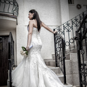 Bride On a Stairs by Jovan Barajevac - Wedding Bride ( love, stairs, wedding, beautiful, bride, portrait )