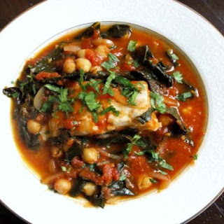 Tomato-Poached Fish with Kale and Chickpeas.