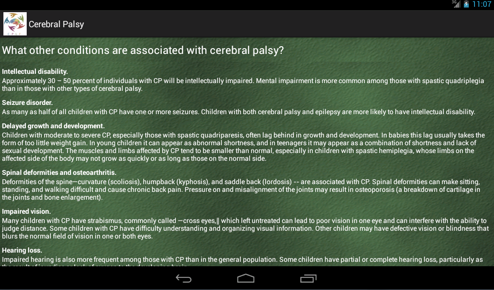 Cerebral Palsy- screenshot