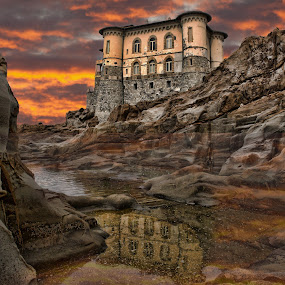Castel Boccale Livorno Tuscany by Gianluca Presto - Buildings & Architecture Homes ( water, mare, reflection, tuscany, toscana, castel boccale, romantic, sea, castello, beach, landscape, subset, sky, italia, scogli, dark, trave, castle, sunrise, livorno, italy, rocks, riflesso, , relax, tranquil, relaxing, tranquility )