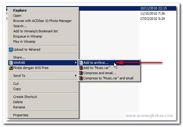 Cara Membuat File Zip Dengan Winrar