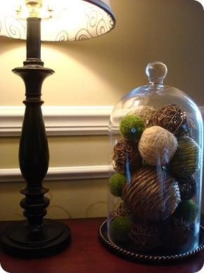 cloche with decorative balls