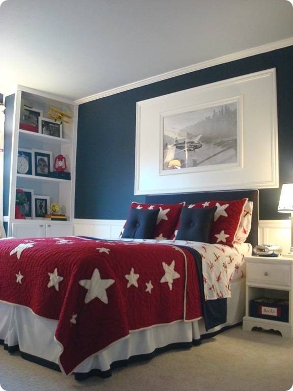 Red white and blue boy bedroom reveal