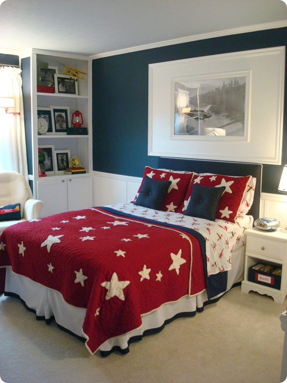 Boy room in red white and blue