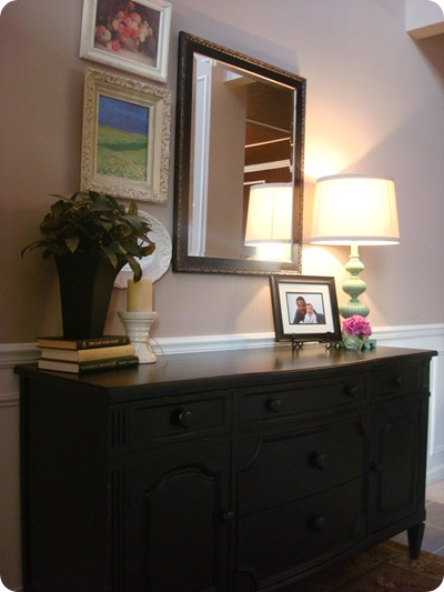 Decorating dresser in foyer